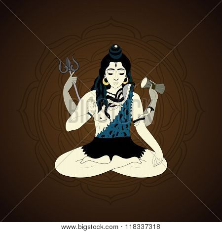 Lord Shiva. Hindu gods illustration. Indian Supreme God Shiva sitting in meditation.