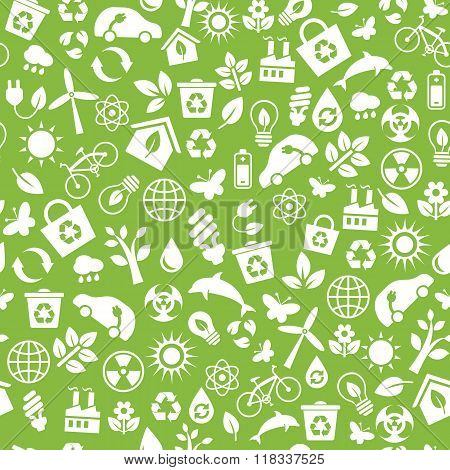 Seamless Pattern With Vector Eco Icons In Flat Style