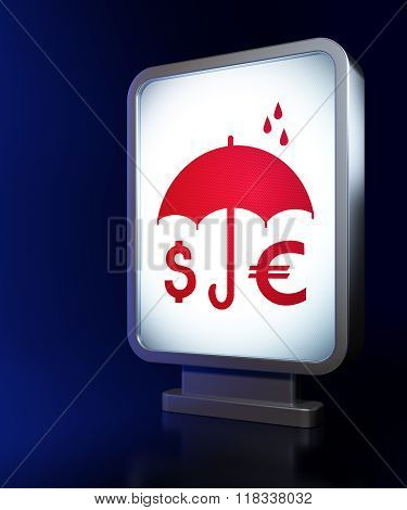 Privacy concept: Money And Umbrella on billboard background