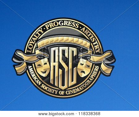 LOS ANGELES - FEB 14:  American Society of Cinematographers Emblem at the 2016 American Society of Cinematographers Awards at the Century Plaza Hotel on February 14, 2016 in Century City, CA