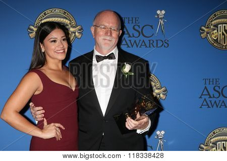 LOS ANGELES - FEB 14:  Gina Rodriguez, Lowell Peterson at the 2016 American Society of Cinematographers Awards at the Century Plaza Hotel on February 14, 2016 in Century City, CA