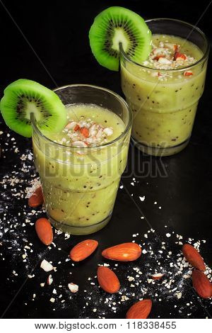 Healthy Smoothie Drink With Kiwi, Almonds And Oat Bran