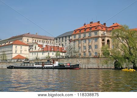 Prague, Czech Republic - April 24, 2010: Views Of The Old Town With Ancient Architecture On The Bank