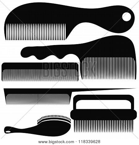 Set of Different Combs Silhouettes
