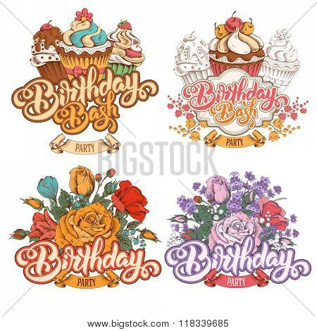 Birthday Party Themed Calligraphic Overlays Design Vector Set with Vintage Hand Drawn Flowers and Cupcakes. Isolated on white background.