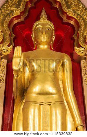 Nakhon Pathom, THAILAND - January 24, 2016: Phra Ruang Rodjanarith Standing Buddha in Phra Pathom Chedi in January, 2016 Nakhon Pathom, Thailand.
