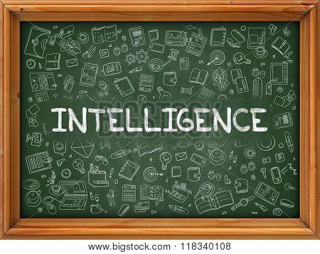 Intelligence - Hand Drawn on Green Chalkboard.