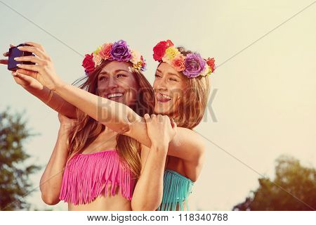 twins taking a photo