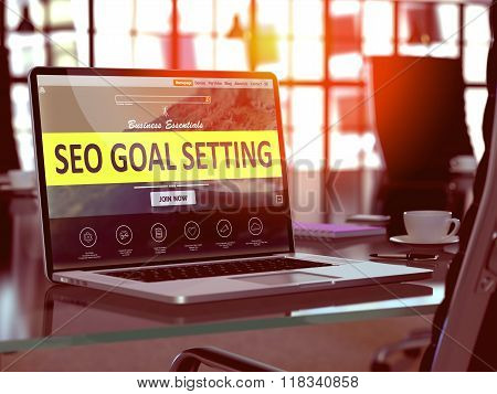 Laptop Screen with SEO Goal Setting Concept.