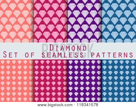 Jewelry. Set Of Seamless Patterns With Diamonds. The Faceted Diamond. The Pattern For Wallpaper, Bed