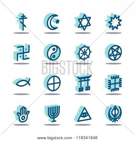 3D Fat Line Icon set for web and mobile. Modern minimalistic flat design elements of world religious symbols