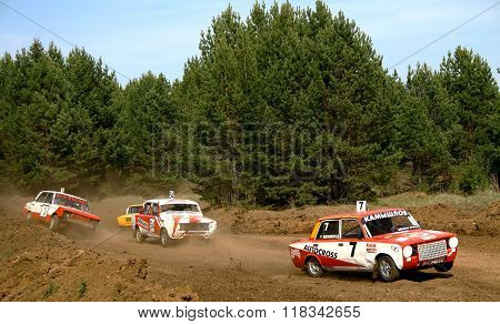 ZLATOUST, RUSSIA - MAY 15: Unidentified competitors in action at the annual auto cross racing Championship of Chelyabinsk region on May 15, 2010 in Zlatoust, Chelyabinsk region, Russia.