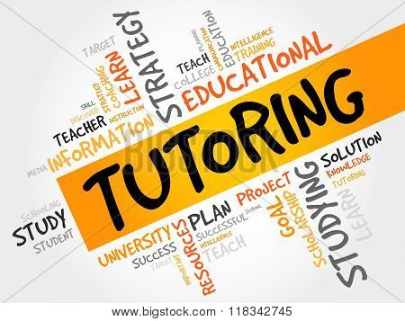 TUTORING word cloud collage concept, presentation background