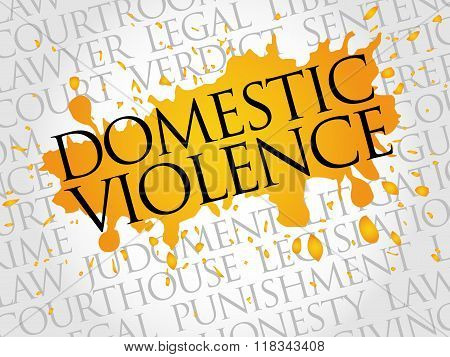 Domestic Violence word cloud collage concept, presentation background