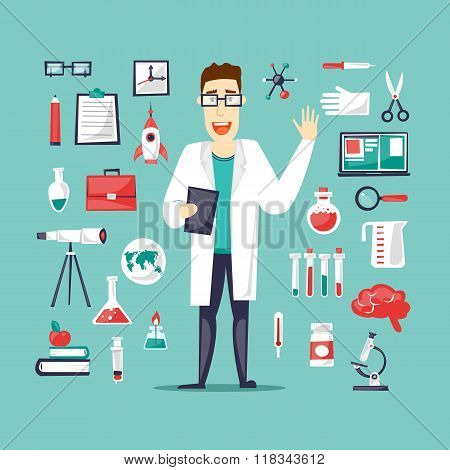 Scientist and a set of icons Lab.