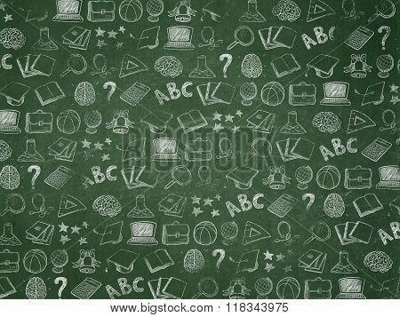 Education background: School Board with Painted Hand Drawn Education Icons