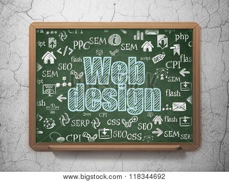 Web development concept: Web Design on School Board background