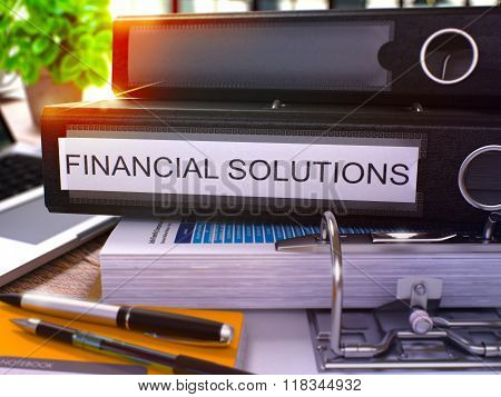 Black Office Folder with Inscription Financial Solutions.