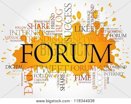 Forum word cloud business concept, presentation background