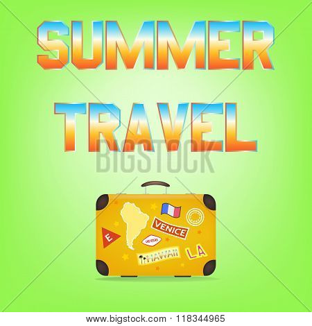 Summer Travel. Suitcase with stickers