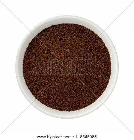 Ground Coffee In A Ceramic Bowl