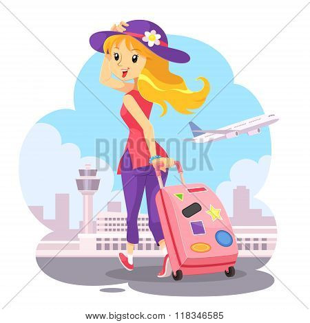 Traveling Girl With Pink Trolley Bag