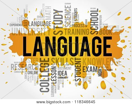 LANGUAGE word cloud education business concept, presentation background