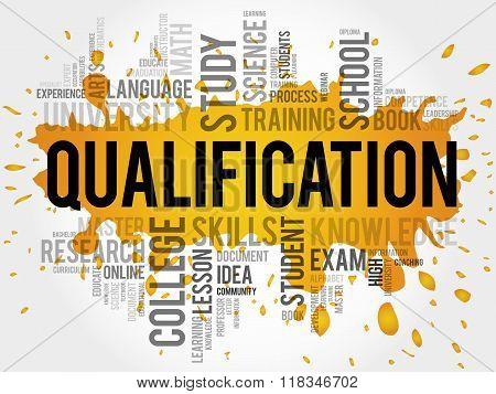 Qualification word cloud education business concept, presentation background