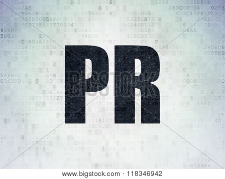 Advertising concept: PR on Digital Paper background