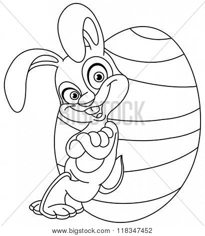 Outlined happy bunny leaned against a big Easter egg. Vector illustration coloring page.