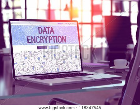 Laptop Screen with Data Encryption Concept.