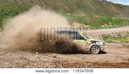 BAKAL, RUSSIA - AUGUST 8: Vehicle LADA Samara (No. 00) competes at the annual Rally Southern Ural on August 8, 2008 in Bakal, Satka district, Chelyabinsk region, Russia.