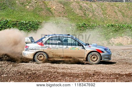 BAKAL, RUSSIA - AUGUST 8: Alexander Zheludov's Subaru Impreza WRX (No. 2) competes at the annual Rally Southern Ural on August 8, 2008 in Bakal, Satka district, Chelyabinsk region, Russia.