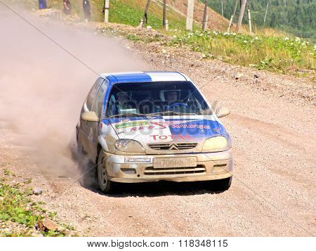 BAKAL RUSSIA - AUGUST 8: Alexey Aksakov's Citroen Saxo (No. 23) competes at the annual Rally Southern Ural on August 8 2008 in Bakal Satka district Chelyabinsk region Russia.