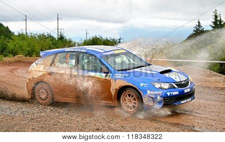 BAKAL, RUSSIA - AUGUST 8: Patrik Flodin's Subaru Impreza WRC (No. 1) competes at the annual Rally Southern Ural on August 8, 2009 in Bakal, Satka district, Chelyabinsk region, Russia.