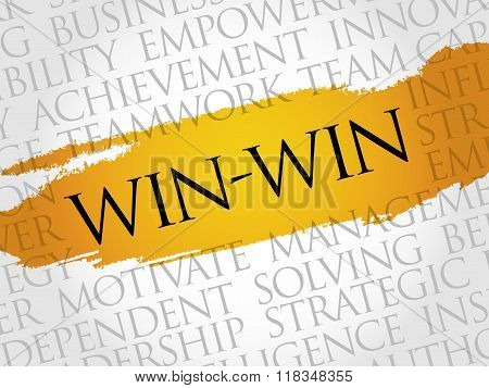 Win-win - winning solution word cloud business concept