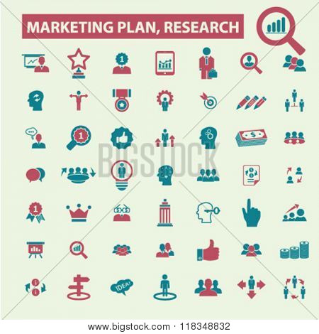 marketing plan, marketing research, market icons