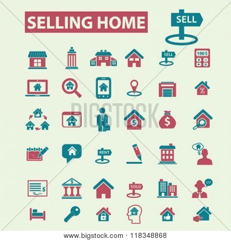 selling home, real estate, agent, agency, buildings icons