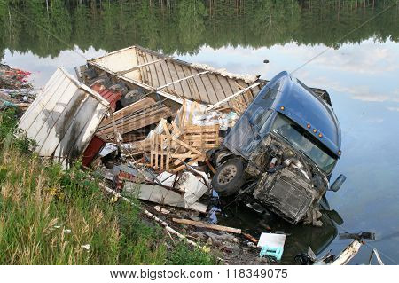 CHELYABINSK REGION, RUSSIA - AUGUST 14: Hard truck crash on a freeway on August 14, 2009 in Satka district, Chelyabinsk region, Russia.