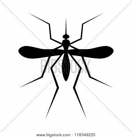 Silhouette of Mosquito. Insect, Culex pipiens isolated on white background. Vector Illustration