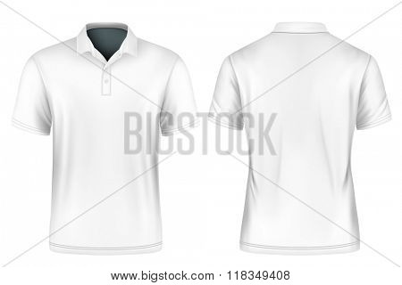 Men's polo shirt. Vector illustration. Fully editable handmade mesh.