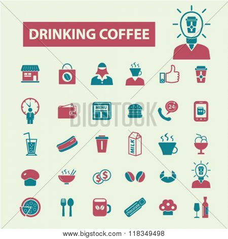 drinking coffee icon, cafe logo, cafe icons, cafeteria vector