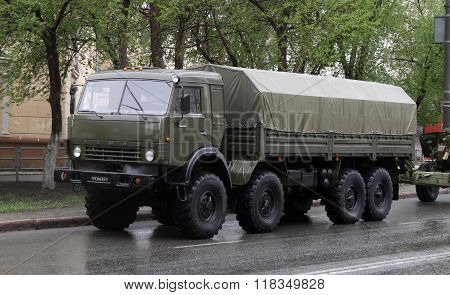 CHELYABINSK, RUSSIA - MAY 9: Army truck KamAZ-6350