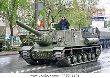 CHELYABINSK, RUSSIA - MAY 9: Soviet multirole fully enclosed and armored self-propelled gun ISU-152 exhibited at the annual Victory Parade on May 9, 2008 in Chelyabinsk, Russia.