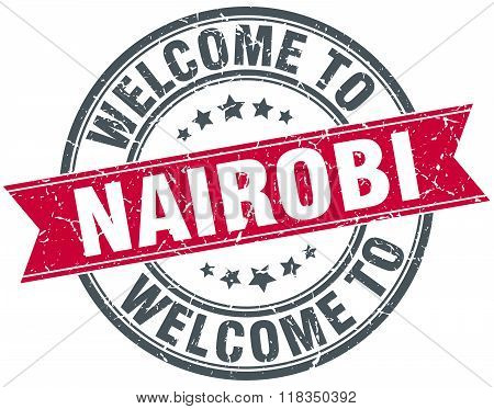 welcome to Nairobi red round vintage stamp