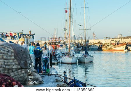 ESSAOUIRA, MOROCCO - September 18, 2015: Fishermen after fishing