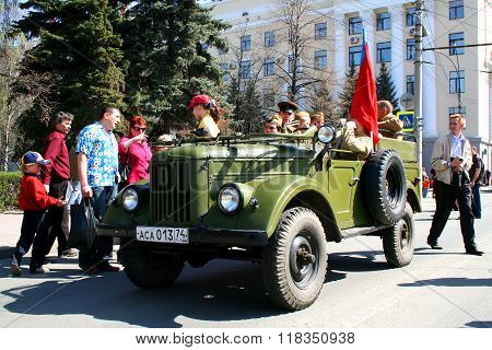 CHELYABINSK, RUSSIA - MAY 9: Command car GAZ-69 exhibited at the annual Victory Parade on May 9, 2009 in Chelyabinsk, Russia.
