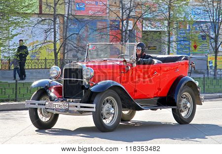 YEKATERINBURG RUSSIA - MAY 9: Soviet motor car GAZ Model A exhibited at the annual Victory day Parade on May 9 2012 in Yekaterinburg Russia.