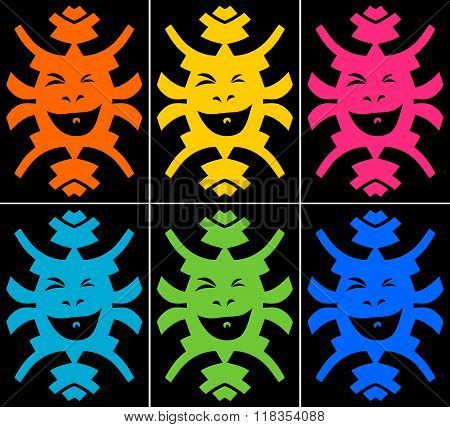 Set Of Crazy Smiling Faces On Black Background