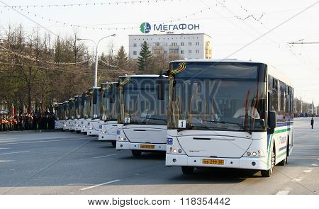 UFA, RUSSIA - MAY 4: Buses for conveyance of veterans of World War II takes part at the dress rehearsal of Victory Parade on May 4, 2010 in Ufa, Russia.